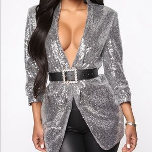 Fashion Nova silver sequin blazer